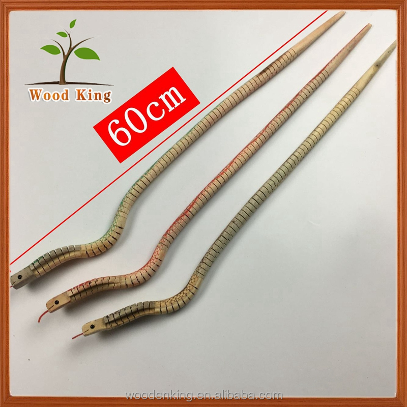 Wholesale Wood 60cm Silver Mirror Simulation Monster Snake Scare Wooden Crafts Children Small Toy Animal