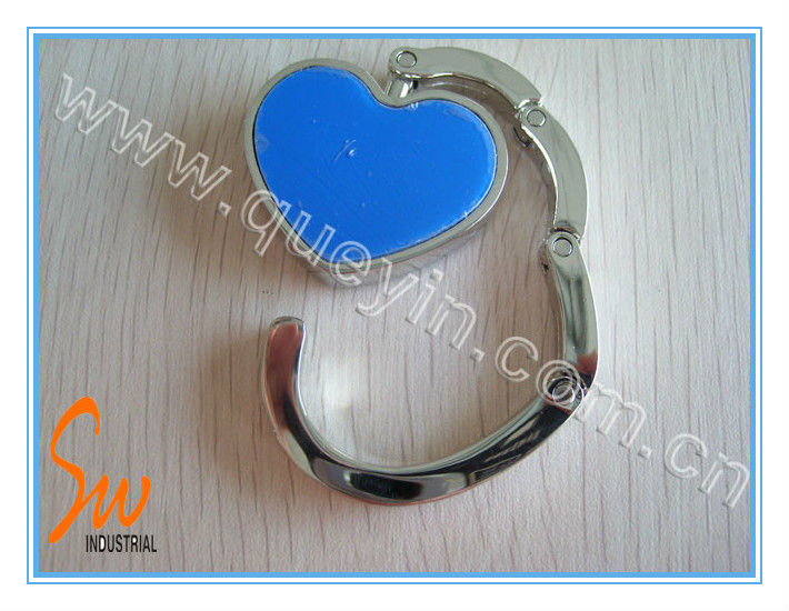 Heart Shaped Blue Metal Bag Hook