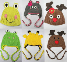 2014 Winter Hot Sale Amazing Baby Cute Animal knitted Crochet Hat and Caps Earflaps