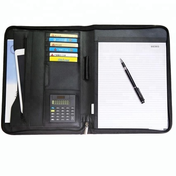 Zipper business PU leather portfolio conference file folder with calculator
