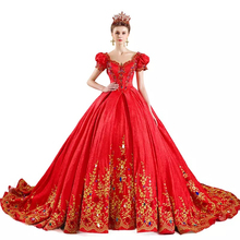2017 Luxury High Quality Puffy Sleeve Golden Embroidery Red Gem Bridal Gown Wedding Dress