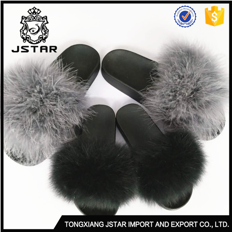 Good Price Soft 100%Fox Fur Boot Slippers Rubber Skid Proof Bottom Kids Slipper