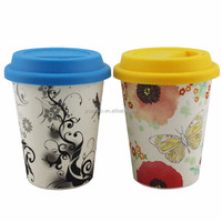 eco friendly and biodegradable coffee cup with silicon lid bamboo fiubre travel cup