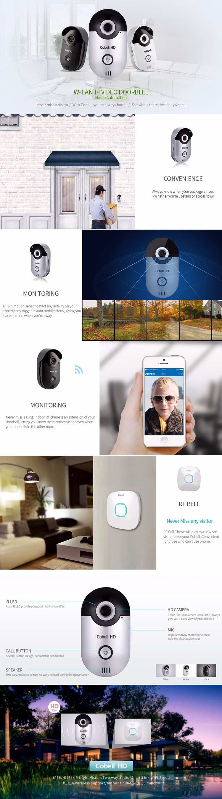 Wifi smart door phone, home security system 720p ring video doorbell