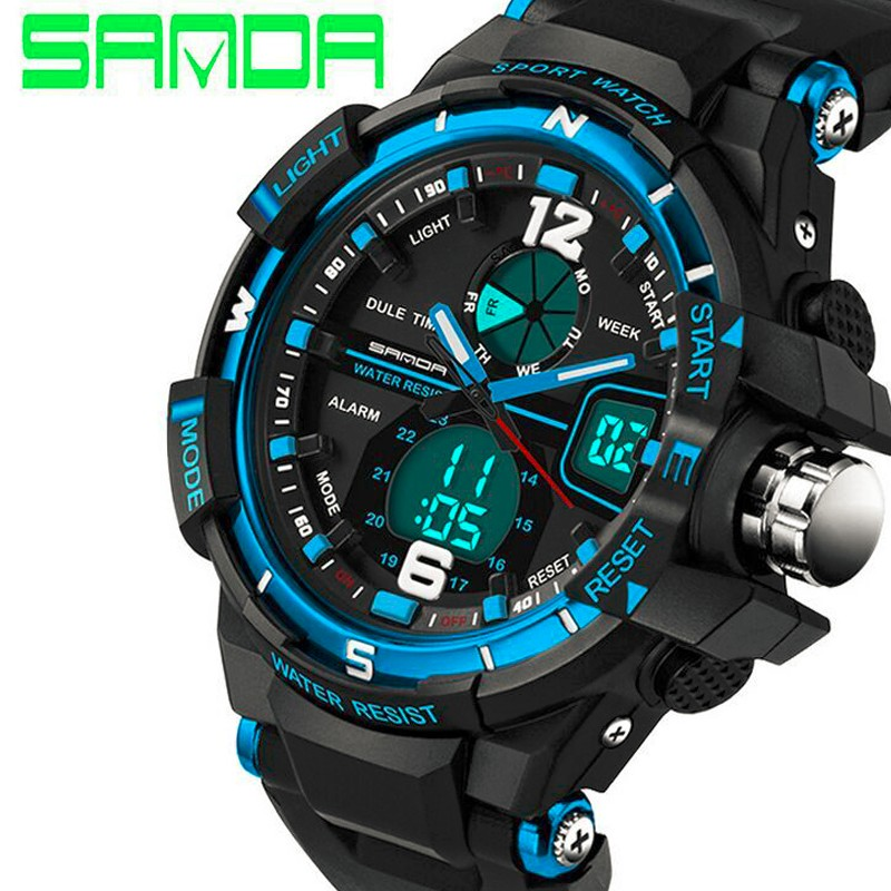 SANDA watch 289 Sport Men Diving Camping Waterproof Clock For Mens Watches Top Brand Luxury Military relogio masculino montre