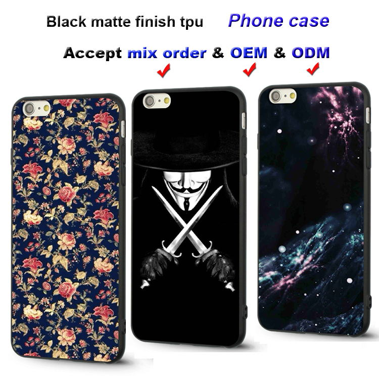 Wholesale black matte finish soft tpu phone case for iPhone 6s plus silicone back cover case for samsung galaxy note5 s6 s7 edge