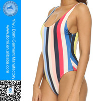 Domi 2016 Most Popular Rainbow Striped Swimsuit Backless Swimwear Women Bikini