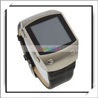 Wholesale! Wrist Watch Phone K12 Magic Audio Slide Menu Surface Leather Strap Stainless Steel Black