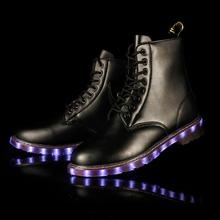 British Fashion High Quality USB Rechargeable Multi-colors Led Leather Boots For Men/Women Casual
