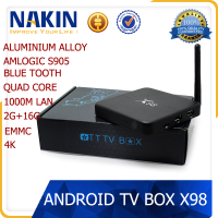 X98 Amlogic S905 Qual Core Android 5.1 TV Box 1000M LAN EMMC 4K android smart tv box