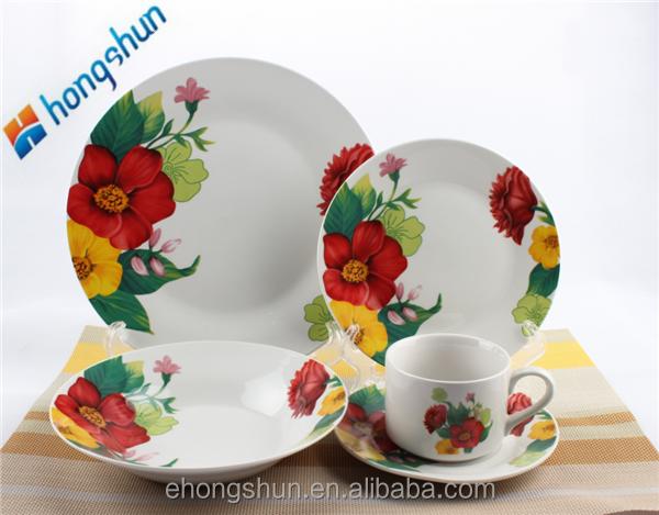 Full Decal England Style Round Shape Ceramic Porcelain Tableware Dish Sets 20pcs/30pcs