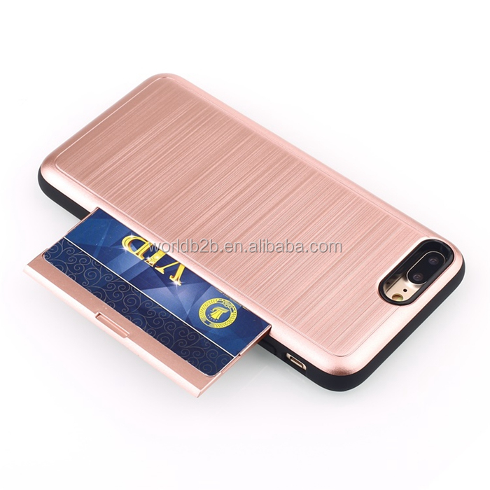 Brushed PC Protective Hidden Wallet Case with Card Holder for Apple iPhone 8 Plus