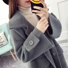 Women Apparel Made In Zhejiang pure color long length sweater cardigan