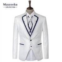 Hot Selling OEM Men's Slim fit Wedding Dress Suits, 4 Piece High Quality Shining Tuxedo Men's Suits, White Wedding Suits for men