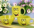 3pcs green smiley funny face kids coffee mug with bowl set wholesale