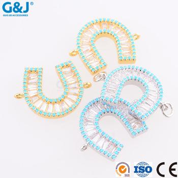 GuoJie brand wholesale high quality 2017new design girls U shape alphabets pendant