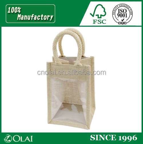 New Jute wine bag with PVC window,pvc wine cooler bag