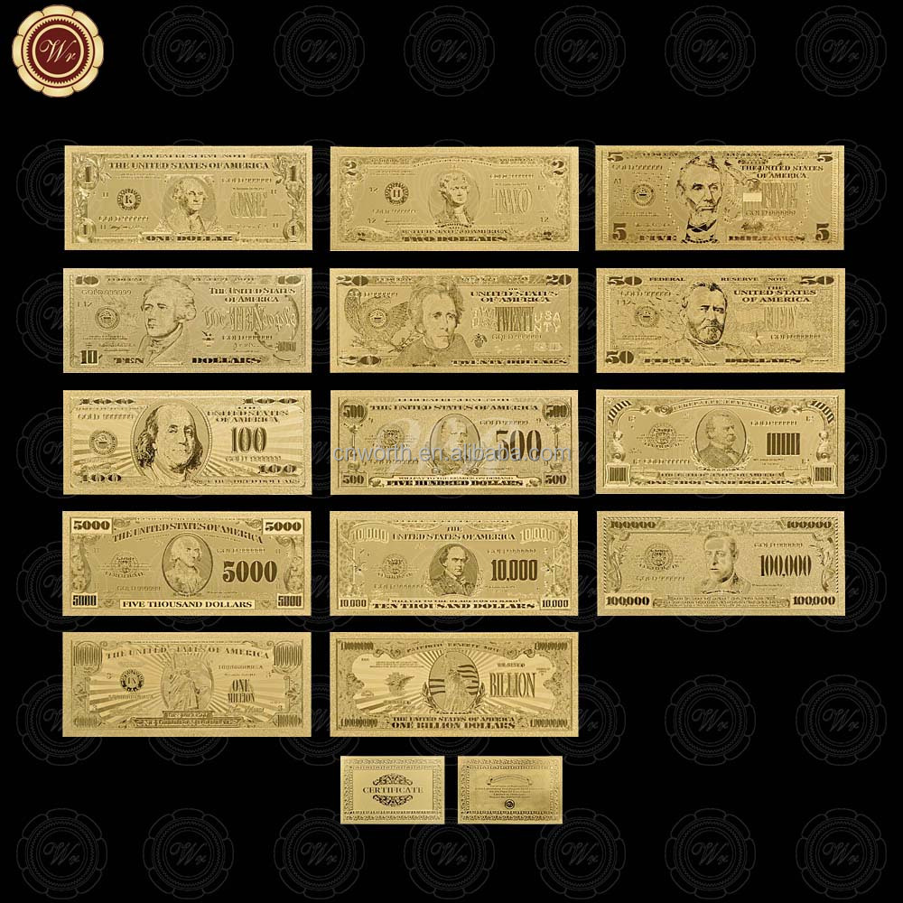 Wr Collectible Paper Art Craft Set Gold Plated USA $1,2,5,10,20,50,100,500,<strong>1000</strong>,5000,10000,100000, 1 Million,1 Billion Banknote