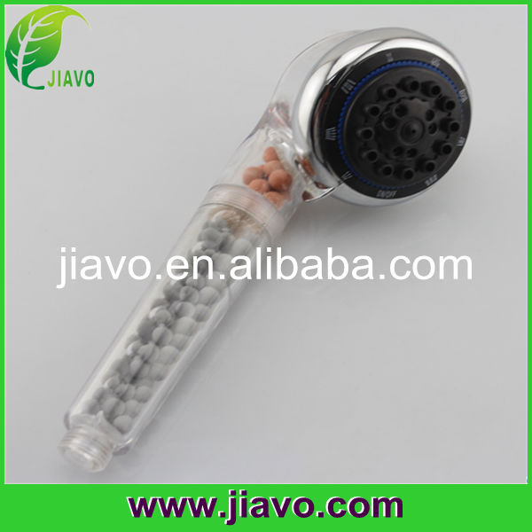 China Bathroom Eco spa shower filter/ion shower head with mineral balls