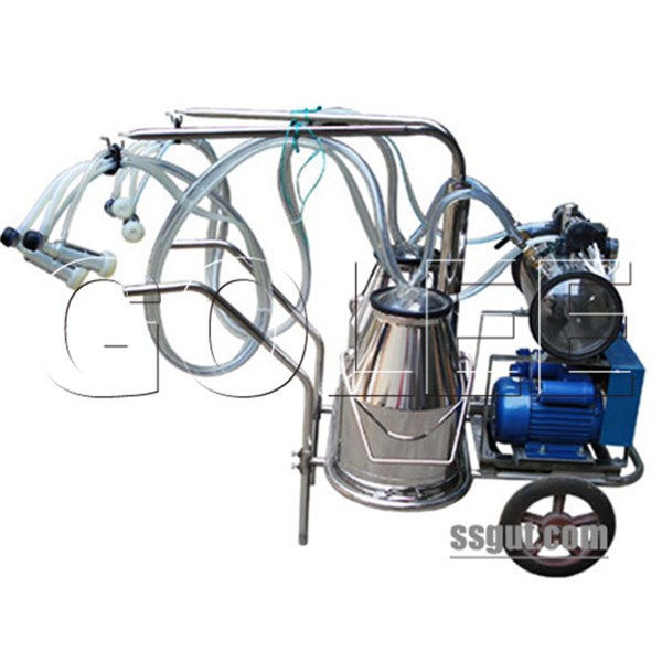 Single and Double Buckets Mobile Milking Machine for Cows (vacuum pump-type)