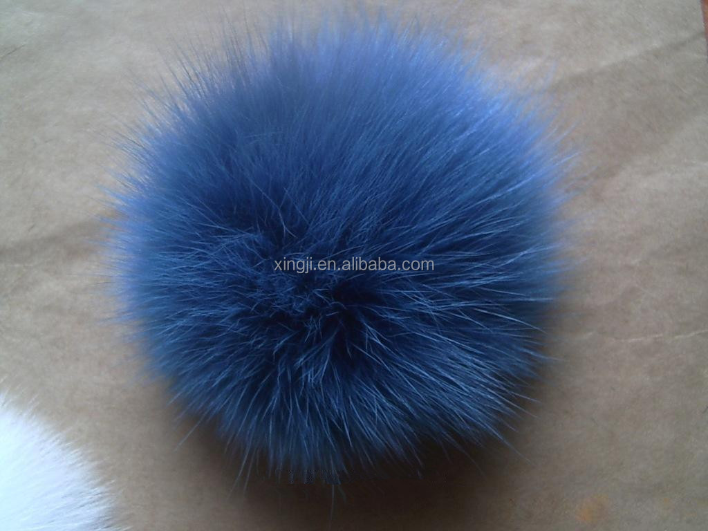 Top quality dyed fox fur pom poms for hat/scarf/garment