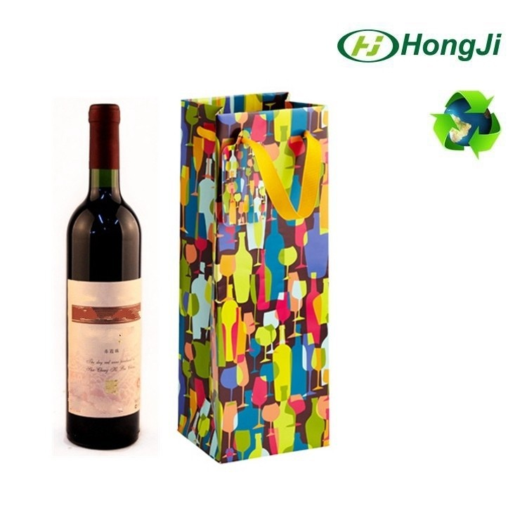 China Mini Origami Paper Gift Bag Wine Bottle Paper Bag