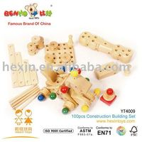 Wooden 100pcs Construction Building Set factory toy