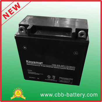 High Performance 12V 9Ah MF Motorcycle Battery YB9-BS