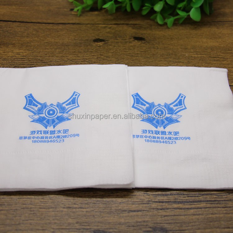 2017 quality paper napkins printed logo with 1/2 colors