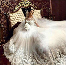 robe de mariage Pearls Beaded Long Sleeve Lace Cathedral Train Ball Gown Wedding Dresses CWFw2381