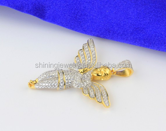 Mens & Ladies Silver 14k Gold Finish Lab Diamond Baby Angel Pendant