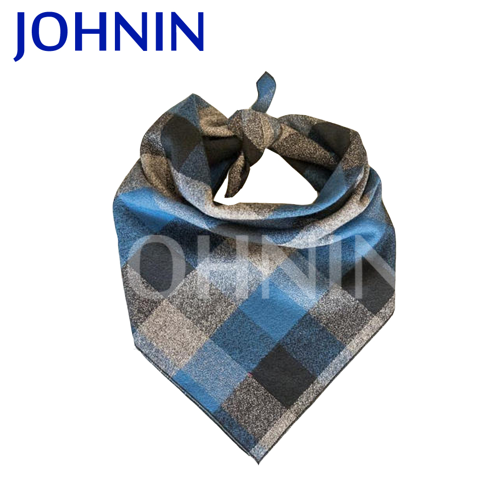 Custom logo printed puppy pet triangle plaid tartan dog scarf bandana