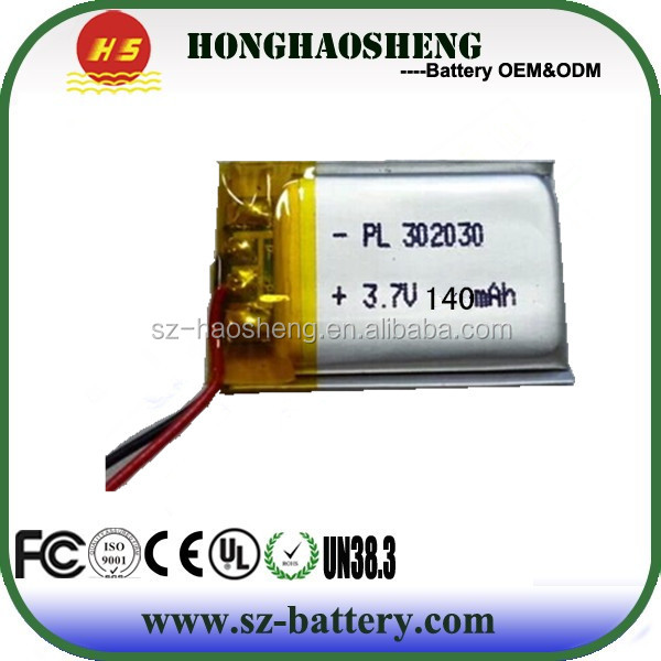 Rechargeable battery 3.7v 302030 li polymer 150 mah