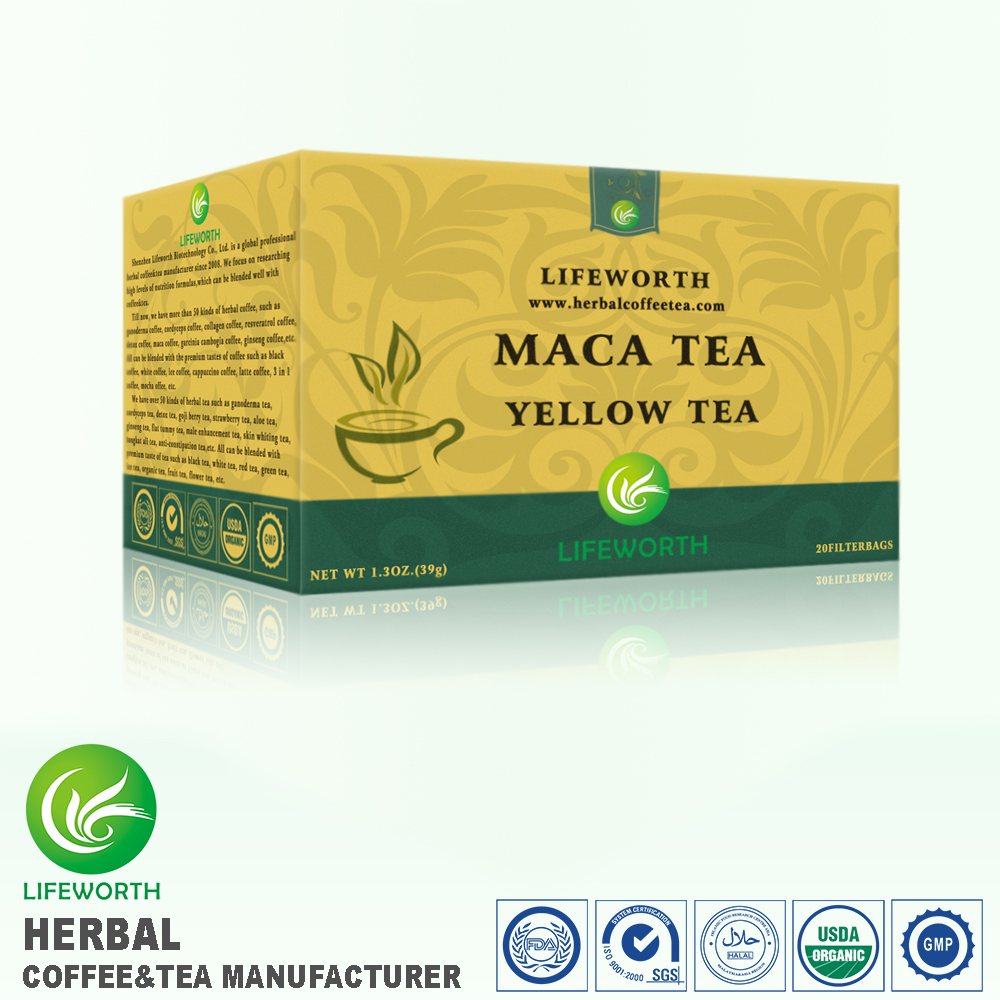 Lifeworth printable natural herbal maca powder yellow tea bag for male enhancement by excellent package designer