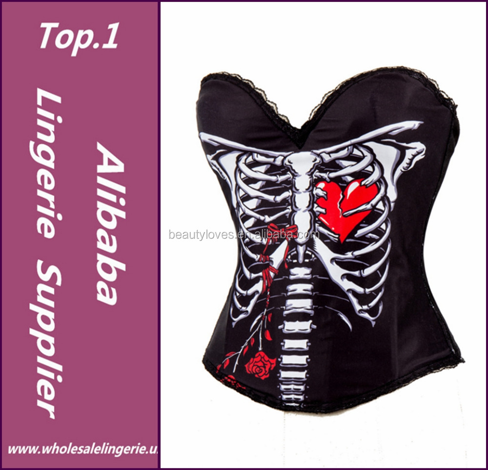 Skeleton&Red Heart Print Burlesque Corselet Corset Overbust Push Up Corsets And Bustiers Sexy Korsett For Women Gothic Clothing