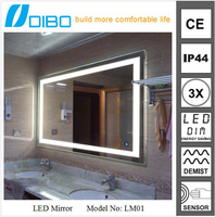 wall mounted water resistant anti fog bathroom makeup mirror with led light