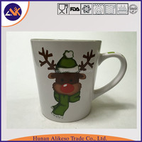 Custom deer pattern printed stoneware ceramic coffee/tea mug with handle for christmas gift