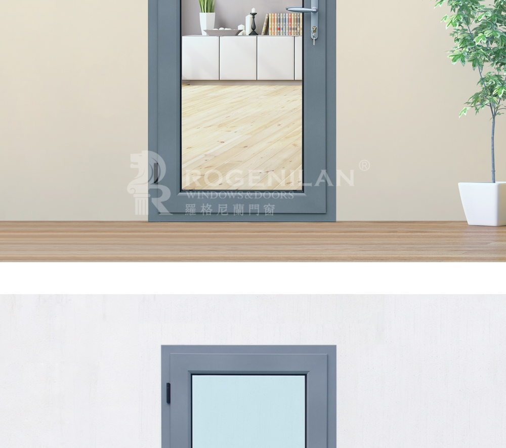 45 series Tempered Glass Aluminum Casement bathroom door