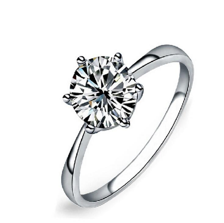 6 claws classic design large simulated diamond platinum wedding <strong>rings</strong> for women clear CZ wedding jewelry
