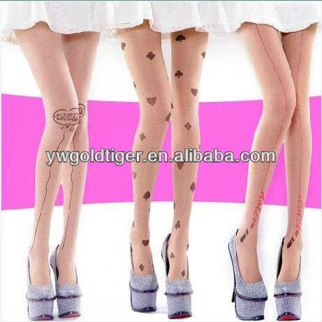 Top-sale Get BSCI Certification Hot Sale Women Ultra-thin Sheer Open Tattoo printed Tights