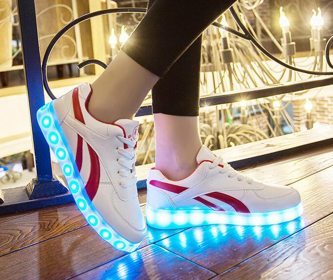 Wholesale charge USB change color PU unisex LED light shoes sneakers