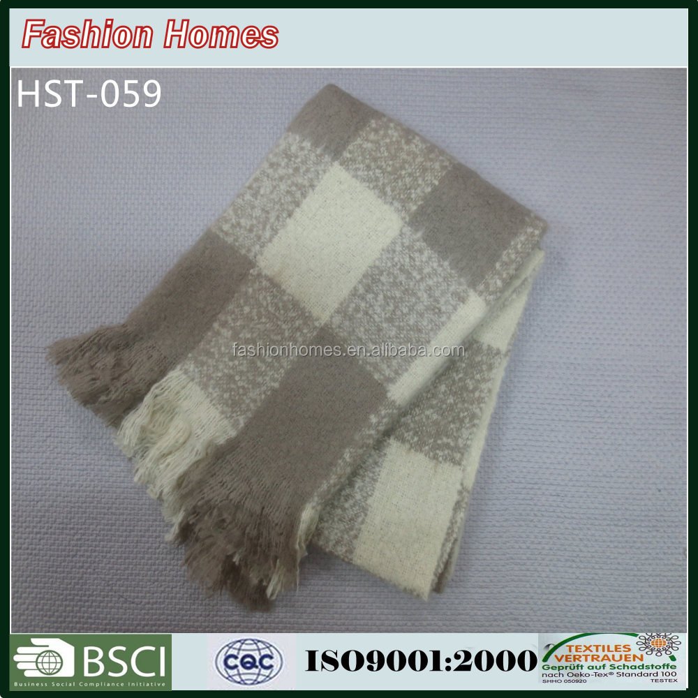 Brown And White Mohair Throw Blanket