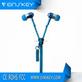 Classic Metal zipper earphone, stereo phone earphone with microphone