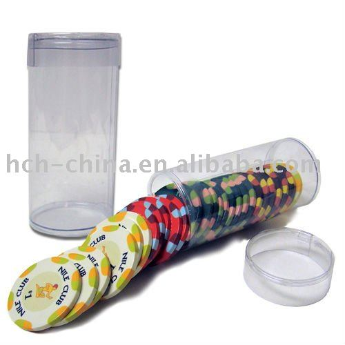 Plastic PVC Clear Poker Chip Tube, Can Load 25 Pcs Poker Chips