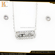 unique necklace and earrings rectangle stainless steel set fashion jewelry bisuteria