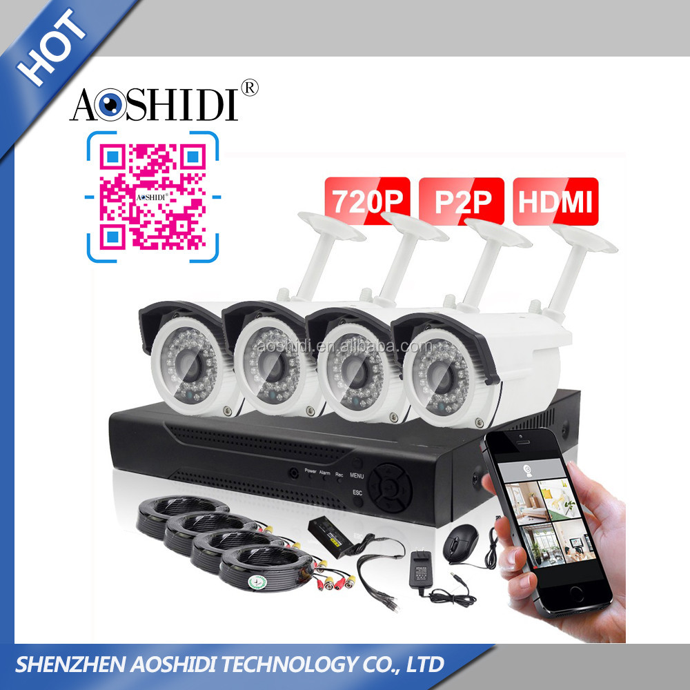 Cheap 4 camera CCTV kit, 1 megapixel digital cameras and DVR ahd camera kit manufacture