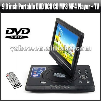 9.8 inch Portable DVD VCD CD MP3 MP4 Player + TV, YMP400A