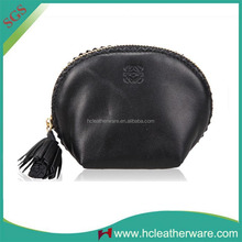 China Alibaba Lady Sheep Leather Black Funny Coin Purse with Fringed Zipper Puller