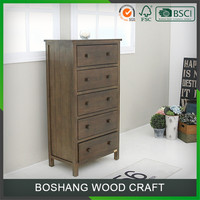 5 Drawers cabinet solid wood furniture varnish finished