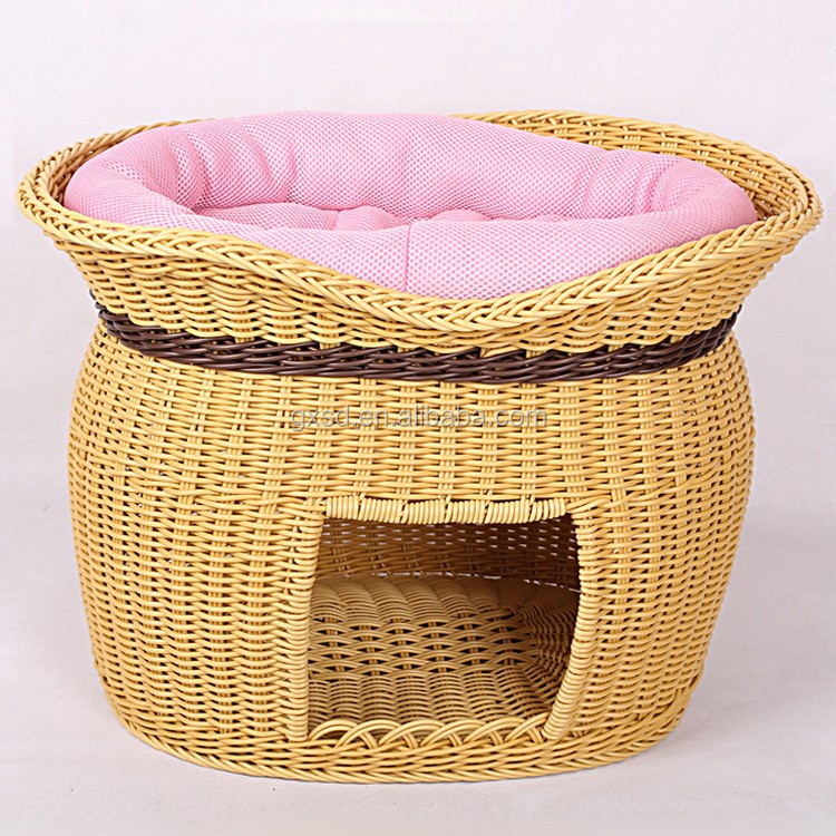 Latest wicker hand made cat pet product two-tier cat beds wholesale